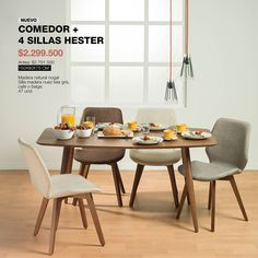 Comedor y sillas #Hester: Diseñado en madera natural con sillas de madera nuez de tela gris, café o beige. #Dinner #HomeArticles #Home #HomeDesign #Decoración