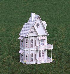 Deluxe Victorian Gingerbread Dollhouse kit, Doll House kit.  Heart motif, wood.