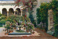 Manuel Garcia y Rodríguez A Courtyard in Seville 1922