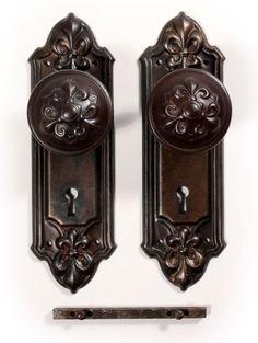 """Antique Fleur-de-Lis Door Hardware Sets, """"Fleuroy"""" by RHC"""