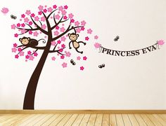 Personalised Monkey Blossom Wall Stickers from notonthehighstreet.com