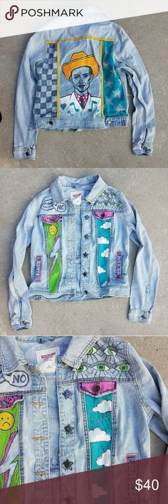 Hand painted punk denim jacket Hank Williams M Mossimo jean jacket that has been customized with Hank Williams on the back, and nods to Bowie and Iggy Pop on the front. Has been washed to soften the paint but is unworn. Size M. Mossimo Supply Co Jackets & Coats Jean Jackets