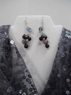 Evening Out: Elegant Earrings Holiday Earrings Winter Style Jasper Earrings Onyx Earrings Swarovski Earrings Moonquartz Earrings
