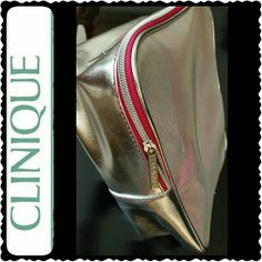 Clinique Cosmetic Travel Case NWOT, Clinique Cosmetic Mesh Pouch Case, Great for Travel Needs, Metallic Silver Shade with Hot Pink Accent, Nylon Material, New  Approx Size 8.5 x 7 x 3 inches Clinique Bags