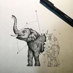 My Most Favorite Geometric Tattoo Tatoo Elephant, Geometric Elephant Tattoo, Geometric Sleeve Tattoo, Tattoos Geometric, Elephant Tattoo Design, Geometric Tattoo Design, Geometric Drawing, Geometric Art, Geometric Animal