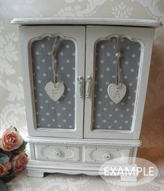 Shabby Chic Large Vintage Painted Jewellery Box Armoire Cabinet