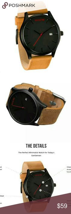 Men's MVMT Classic Watch - Black/Tan Leather Band New. Comes in black leather display box.   Watch Information :  - Brand : MVMT Watches  - MPN : L213.5L.351  - Case Size : 45 mm  - Case Thickness : 9 mm  - Case Material : Stainless Steel - Display : Analog - Strap Width : 24 mm  - Movement : Three-Hand Miyota Quartz - Features : Date Indicator, Interchangeable Strap, Non-Numeric Hour Markers  - Band Type : Two Piece Strap Buckle Closure  - Band Color : Tan - Dial Window Material : Mineral…