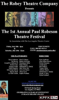 The 1st Annual Paul Robeson Theatre Festival ~ July 18th & 19th at the Los Angeles Theatre Center