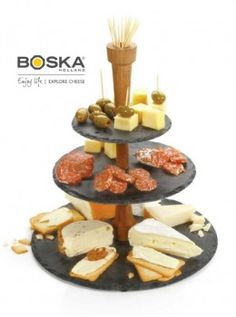 This cheese tower gives cheese the stage it deserves, whilst the slate is hygienic and doesn't absorb odors or bacteria. Chutneys, cold meats, toast, dips, olives and a variety of cheese all have a place on the platter!