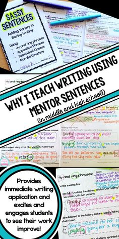 Why I Use Mentor Sentences to Teach Writing in my High School English Classroom Improve student writing and grammar without boring drills! Engage students and have fun while increasing writing sophistication with Mentor Sentences, 6th Grade Writing, Middle School Writing, Writing Classes, Middle School English, Writing Lessons, Writing Workshop, Teaching Writing, Writing Skills, Writing Activities