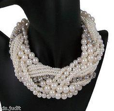 Bellissima collana girocollo multifili intrecciati perle e strass Shourouk Belen