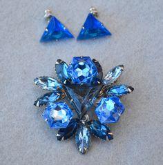 Blue Rhinestone Vintage Cathe' Brooch and Earrings