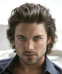 Curly wavy Men's Hairstyle