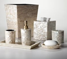 shimmering shell bath accessories on pinterest bath accessories shells and iridescent tile