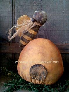 Little Primitive Folk Art Bee Skep Shelf Sitter By MeadowForkPrims 1400