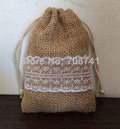 "Aliexpress.com : Buy Size: 4""X6"", 50pcs/lot, Burlap drawstring bag with lace, Jute burlap gift drawstring bag for wedding, custom size acceptable from Reliable gift bags wedding suppliers on LIVE GREEN BAGS"