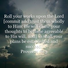 Proverbs Roll your works upon the Lord [commit and trust them wholly to Him; He will cause your thoughts to become agreeable to His will, and] so shall your plans be established and succeed. Scripture Quotes, Bible Verses, Amplified Bible, Bible Knowledge, Gods Promises, Verse Of The Day, God Is Good, Gods Love, It Works