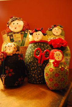 A set of sewing table Matryoshka dolls I made for a secret sister exchange