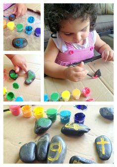 M.1.1 Repeat a movement like a clap. M.1.2 Touch one object. M.1.3 Give an object when asked. M.1.4 Repeat number words. Age 2-3 Creating Alphabet Rocks for Nature Walks