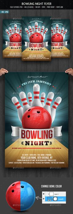 Bowling Night Flyer Template V2 on Behance Marketing ideas - bowling flyer template