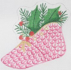 "Kate Dickerson Herend-inspired fishnet baby shoe ornament - pink (back says ""Baby's 1st Christmas"")"