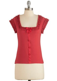 Let's Get Baking! Top in Cherry. Wearing this sweet red top from Effies Heart while decorating treats with your pals is just icing on the proverbial petit fours. #red #modcloth