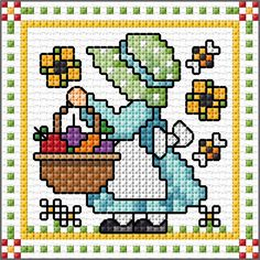 """September"" Sunbonnet Sue and Sal 2018 by Lesley Teare Tiny Cross Stitch, Cross Stitch For Kids, Cross Stitch Tree, Cross Stitch Bookmarks, Cross Stitch Cards, Simple Cross Stitch, Cross Stitch Alphabet, Cross Stitch Designs, Cross Stitching"