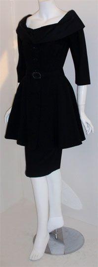Don Loper Black Wool Cocktail Dress, Circa 1950