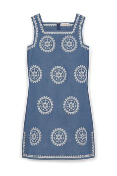Tory Burch Embroidered Chambray Dress