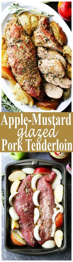Apple Mustard Glazed Pork Tenderloin - Not only is this pork tenderloin juicy, delicious, and addictive, but it is also very, very easy to make! Pour on the apple-mustard glaze and pop it in the oven! I love pork n Apple recipes! Pork Recipes, Paleo Recipes, Dinner Recipes, Cooking Recipes, Easy Pork Tenderloin Recipes, Pork Tenderloin Glaze, Oven Roasted Pork Tenderloin, Pork Tenderloin Oven, Mustard Pork Tenderloin