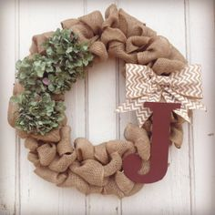 Burlap Wreath with 3 Dark Green Hydrangea by sidneylinndesigns, $50.00