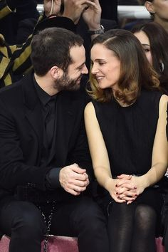 Natalie Portman and Benjamin Millepied at the Dior Couture show