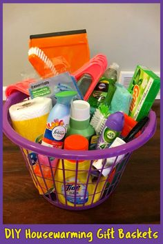 Best Housewarming Gifts For First Time Homeowners in Their First Home - Clever DIY Ideas - Easy DIY housewarming gift basket ideas and unique homemade new home gifts for first time homeowner - Cheap Gift Baskets, College Gift Baskets, College Gifts, Grad Gifts, Basket Gift, Graduation Presents, Graduation Gift Baskets, Diy Gifts, Teen Gift Baskets