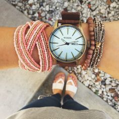 Tic, tok! It's time to wake up! ⏰✨ Shop these items now:   Sentry leather Nixon Watch ($150 at #4thandocean)   Under Wraps Tassel Bracelet ($9.99 at #statements)   Braided Bead Cuff Coral ($7.99 at #statements)   All available in store or online with F R E E shipping! Call 844.232.7364 ext 3 to order the watch! We are open from noon to 5 today! XO #sophieandtrey #weshipfree #ootd #shopnow #love #fashion #trendy #cute #musthave #ordernow #armparty