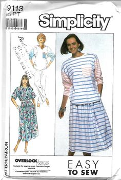 Simplicity 9113 Misses Easy To Sew Tops, Skirt And Pants Pattern, 6-8, UNCUT by DawnsDesignBoutique on Etsy