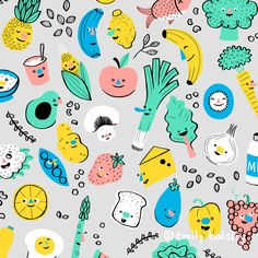 Healthy Foods pattern by Emily Balsley