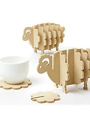 Sheep Shaped Wood Coasters,17*10.5*9.5cm(6.8*4.2*3.8inch)