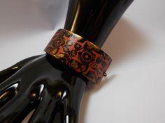 bracelet large en argile polymère dite fimo dans les tons noir,bronze et cuivre : Bracelet par elisabijoux