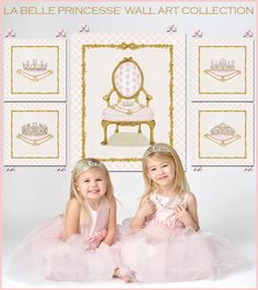 """Painted in pretty shades of pink with gold accents, our """"La Belle Princesse"""" custom canvas wall art collection is an exquisite decorative statement for a pint-size princess′ elegant fairy tale nursery or bedroom. Princess art from Dish and Spoon Productions."""