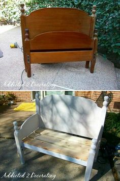 Old bed into bench