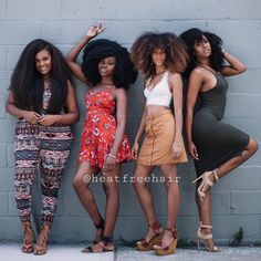Squad goals. // Hair across all collections available exclusively at heatfreehair.com. #forkoils #forkurls #forkinks #blowoutcollection #protectivestyles #heatfreehair.com