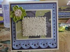 Scalloped handmade card with vintage script