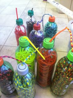Paracord stored in bottles to keep from getting tangled. Just feed it into the bottle and drill a hole in lid to pull it desired length