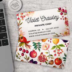 Foodie & Floral Business Card Template – Premade Business Card - PSD – Diy Marketing Card Design– Whcc Miller's - INSTANT DOWNLOAD
