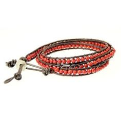 Neptune Giftware Mens Dark Brown Double Leather Cord & Coloured Bead Wrap Around Leather Bracelet / Leather Wristband / Surf Bracelet - 87, $14.99