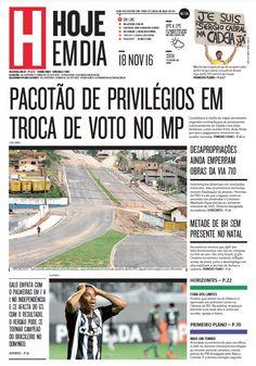 Capa do dia 18/11/2016 #HojeEmDia #Jornal #Notícias #News #Newspaper