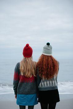 Left: Beacon Pom Hat, Icelandic Jumper. Right: Barley Pom Hat, Loki Jumper. From Knitting from the North.