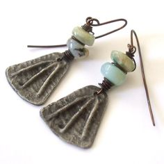 Natural Stone Earrings Peruvian Opal Dangles Primitive, Rustic Pewter Earrings, Boho, Ancient, Medieval by BeachGirlBeads on Etsy