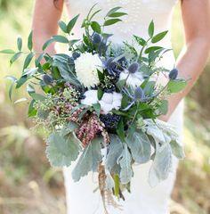 Vintage Fall Wedding Inspiration- ivory dahlias, blue eryngium, pieris japonica, cotton, dusty miller + viburnum berries.