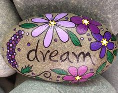 Happy Rocks & other paintings & doodles. by LynnsFunCreations Happy Rock - DREAM - Hand-Painted Beach River Rock Stone - purple lupine imagine believe lilac daisy violet meditate Pebble Painting, Pebble Art, Stone Painting, Dot Painting, Pebble Mosaic, Rock Painting Patterns, Rock Painting Ideas Easy, Rock Painting Designs, Stone Crafts
